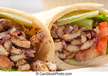 kafta shawarma chicken pita wrap roll sandwich traditional...