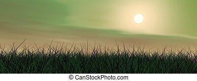 Green sunset - 3D render