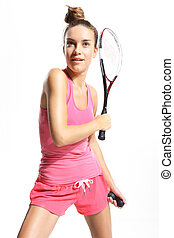 squash - Beautiful athletic woman with squash racket