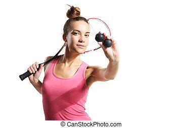 woman with squash racket - Beautiful athletic woman with...
