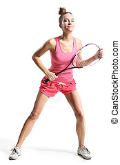 playing squash - Beautiful athletic woman with squash racket...