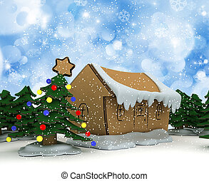 Cardboard Christmas trees and houses