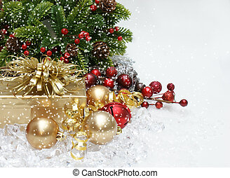 Christmas background - Christmas gift and decorations with...