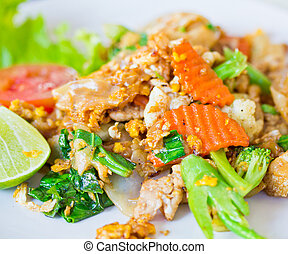 Stir soy sauce pork thailand food