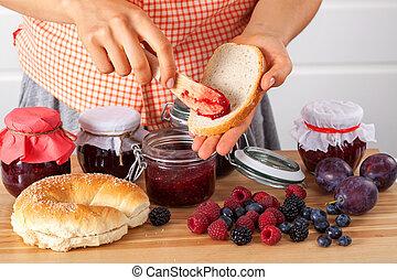 Woman making breakfast