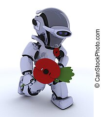 Robot with poppy in remembrance - 3D render of a Robot with...
