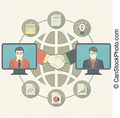 Business Cooperation Concept - Conceptual illustration of...