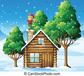 An elf above the house in the snowy land with trees -...