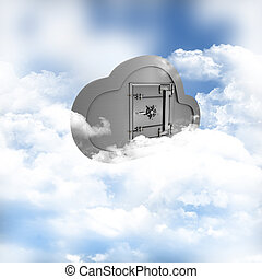 Online storage in the clouds - 3D render of a concept of...