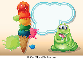 A fat monster eating a spiral lollipop near the giant icecream