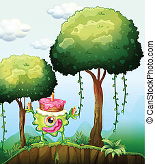 A monster carrying a cake in the forest