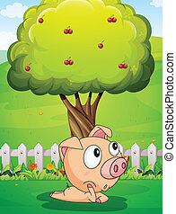 A pig under the tree