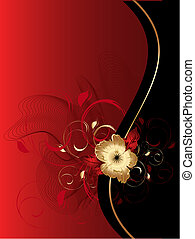 Abstract waves with floral ornament - Vector abstract...