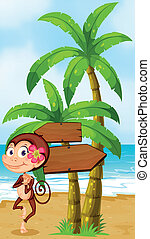 Illustration of a monkey in a hawaiian attire dancing near the wooden arrowboard