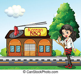 A girl in front of the Korean BBQ store - Illustration of a...