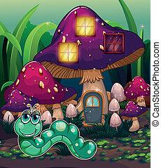 A worm near the mushroom house