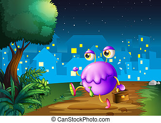 Illustration of a purple monster holding a bag walking in the middle of the night