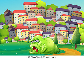 A monster resting at the hilltop across the village