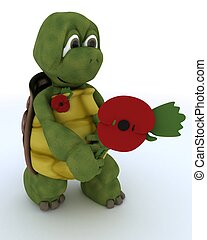 tortoise with poppy in remembrance - 3D render of a tortoise...