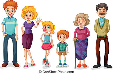 A big happy family - Illustration of a big happy family on a...