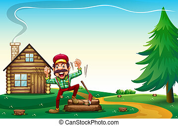 A hilltop with a happy lumberjack cheering