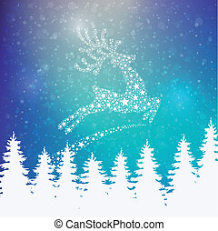 reindeer stars colorful winter background