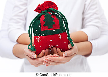 Giving presents to the loved ones at christmas concept
