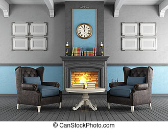 Classic interior with fireplace - Elegant living room with...