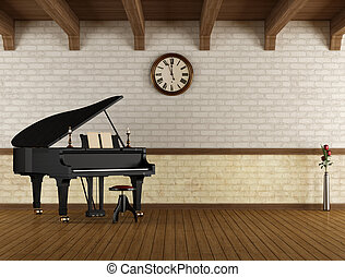 Grand piano in a empty room - Grand piano in a empty vintage...