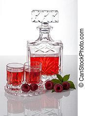 Raspberry homemade liquor - Homemade liquor made with...