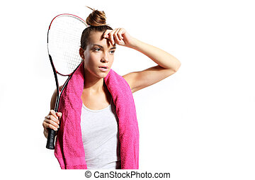 girl tired of squash training - girl tired of squash...