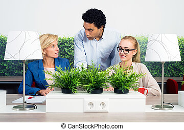 Environmentalists Discussing In Office - Multiethnic...