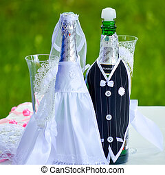 Wedding ceremony details decorated bottles - Wedding...
