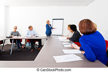 Plenary meeting of a small company, gathered in a meeting...