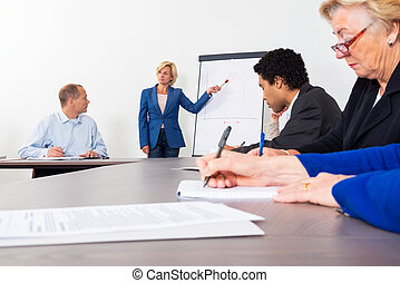 Entrepreneur Giving Presentation In Conference Room - Female...