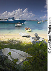 Boats near the shore - Boats off the shore at the tropical...