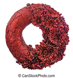Composition of dried flowers and berries in shape of circle isolated on white.