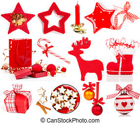 Christmas decoration set, isolated on white