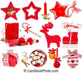 Conjunto, decoración, blanco, aislado, navidad