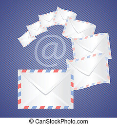 White detailed envelopes - colorful illustration with white...