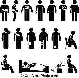 humain, corps, soutien, douleur, blessure