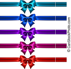 Set of silk bows with ribbons in dark colors - Vector...