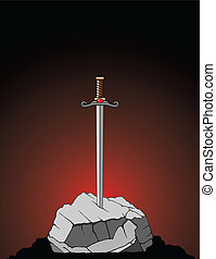 Sword In Stone - Illustration of a sword stuck in a stone or...