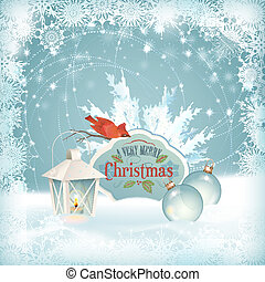 Xmas Bird Lantern Christmas Balls Background - Vector...