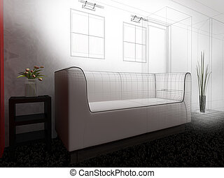 White furniture in modern interior