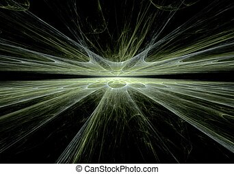 Green line abstract digital fractal art on perspective