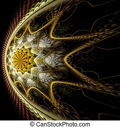 Abstract digital star fractal art on perspective
