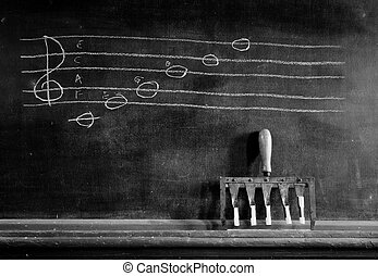 Musical scale on blackboard - musical scale with chalking...