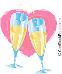 Champagne - Two glasses of champagne, heart, eps 8 format