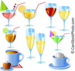 Drinks set, isolated on white, eps 8 format